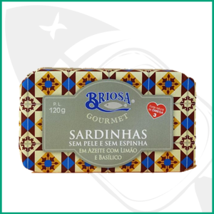 Conserva de Sardinas sin piel sin espinas con aceite, limón y albahaca