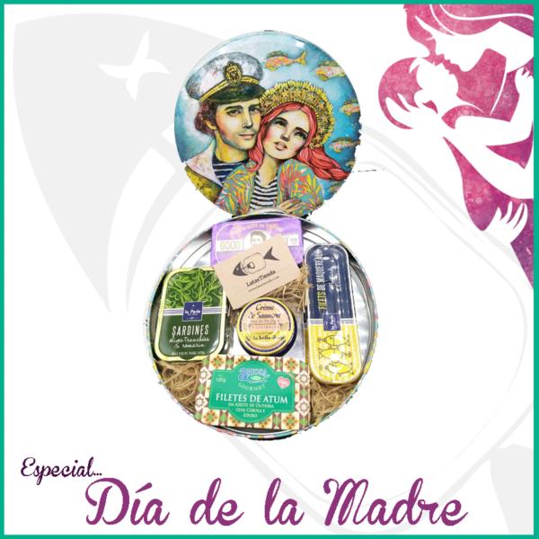 cofre día de la madre ilustrado con marinero y Ms La Perle y en su interior, rica selección de conservas gourmet