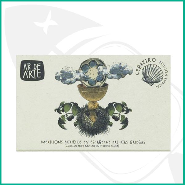Conserva de mejillones gallegos en escabeche de máxima calidad con caja ilustrada